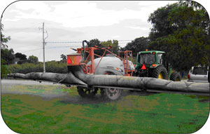 Figure 9. This is a commercially available horizontal boom sprayer with an inflated air-assist sleeve to direct spray into the canopy.