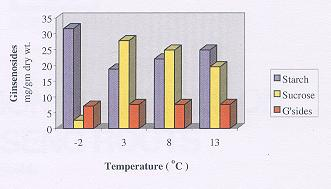 The Effect of Post Harvest Low Temperature Conditioning on Concentrations (% wt/wt) of Starch, Sucrose, and Total Ginsenosides.