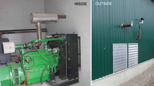 The photo on the left shows a standby generator inside a cinder block room with an exhaust pipe venting through the wall.  The photo on the right is the outside view of the room and shows the exhaust pipe vented through the wall with a heat shield ring around the pipe to decrease the risk of heat damage or fire in the wall.
