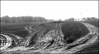Photo shows a plowed field that shows compaction in a wet field from repeated applications of manure.