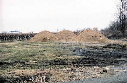 Photo of a temporary field storage for chicken broiler manure.