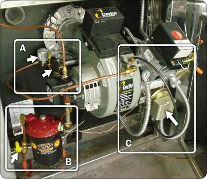 Picture of actual oil-fired maple syrup evaporator shown in valve train diagram in Figure 1. A: Two solenoid valves located after the oil pump can shut off fuel flow to the burner if necessary.( #305 & #306 on diagram). B: Fuel line on the left leads from the fuel tank to the filter and the oil pump( not isolation valve #302 prior to filter). Optional return fuel line on the right leads from the oil pump back to the fuel tank. C: Combustion Air Differential Pressure Switch mounted on the oil burner assembly. Black hose connected to the burner measures the air pressure sensor connected to the switch that will activate wall fan ( #201 on Valve Train diagram).