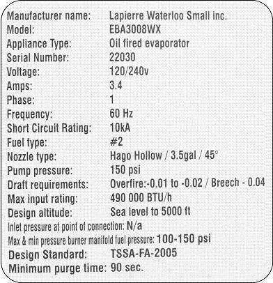 Example of appliance rating plate for oil-fired maple syrup evaporator.