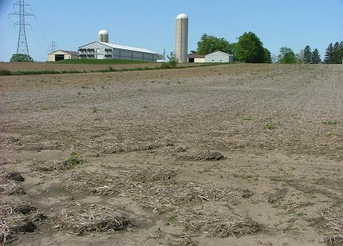 harvested field showing deposits of soil and crop debris at the lower end.