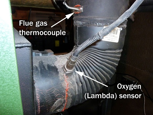 The picture shows the rear of the downdraft two-stage boiler. It demonstrates where the oxygen flue gas sensor and the flue gas thermocouple are inserted in the flue pipe.