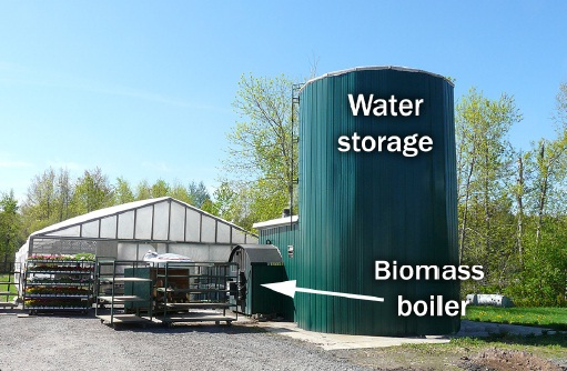 This picture shows a boiler and hot water storage tank for a flower greenhouse operation. The hot water storage tank is considerably larger than the boiler itself. Approximately 50,000 litres of water are needed to provide heat to the greenhouse.
