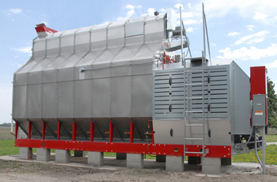 Figure 1: This photo shows a horizontal continuous cross-flow grain dryer with no heat recovery.