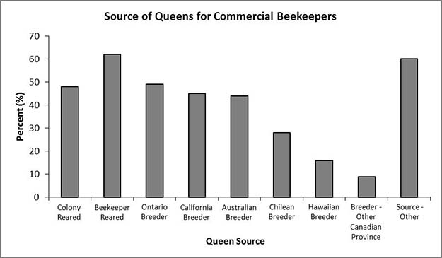 Origin of honey bee queens used by commercial beekeepers in Ontario.