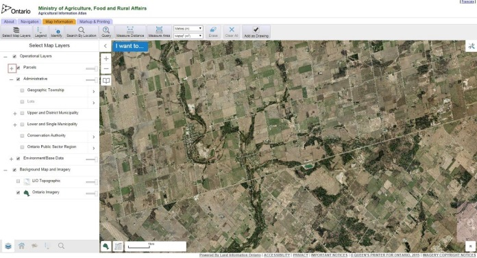 Screenshot showing new buttons and a new About tab. Click on the image to launch the Agricultural Information Atlas.