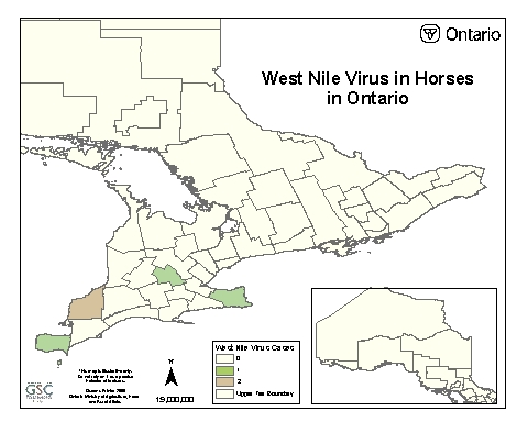 Figure 1 - A map of Ontario showing the county with cases of West Nile Virus.