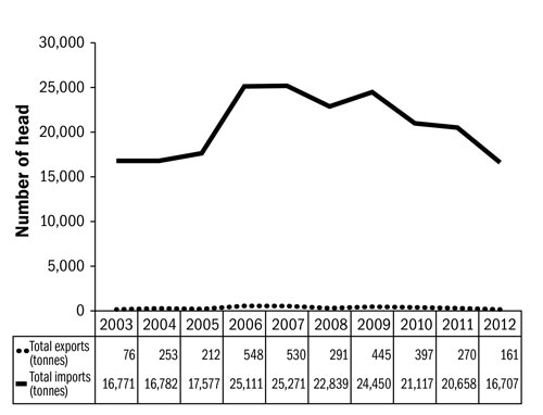 Figure 11. Line graph showing the imports and exports of lamb and sheep meat into Canada. The x-axis (horizontal) lists years across the bottom, from 2003 to 2012. The y-axis (vertical) starts at 0 and goes up to 30,000. Exports are shown as a nearly flat graph along the bottom. Imports are relatively constant till 2006, when they increase, then there is a decline to 2012.