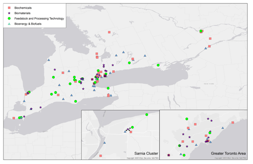Map of Ontario's agricultural-based bioproducts industry