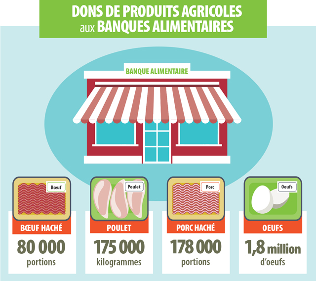 Cette image présente les quantités de dons agricoles à des banques alimentaires. Depuis 2014, l'association Beef Farmers of Ontario a fourni 80 000 portions de bœuf haché frais. L'association Chicken Farmers of Ontario donne environ 175 000 kilogrammes de poulet aux banques alimentaires chaque année. L'association Ontario Pork et ses partenaires ont donné en 2016 plus de 178 000 portions de porc haché, ce qui correspond à près de 27 000 kilogrammes de porc haché. L'association Egg Farmers of Ontario donne environ 1,8 million d'œufs.